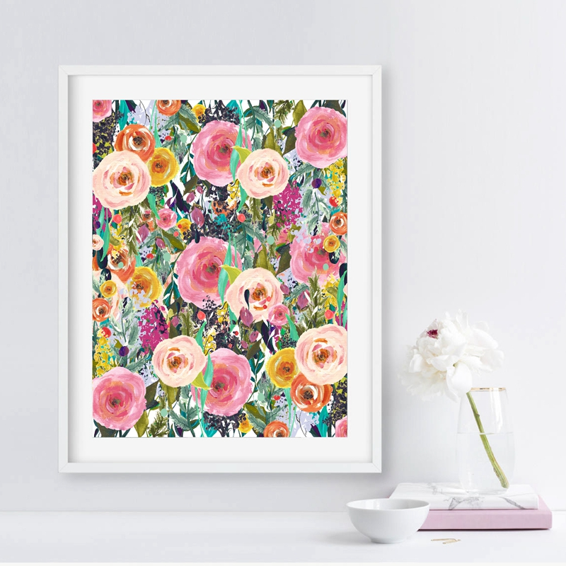 Flower Print Watercolor Floral Wall Artwork Canvas Portray Image Residence Bed room Research Workplace Wall Artwork Ornament artwork decor, canvas portray, portray image,Low cost artwork decor,Excessive High quality canvas...