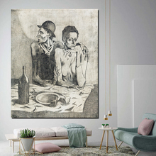 Pablo Picasso Frugal Repast Minimalist Watercolor Art Canvas Poster Painting Wall Picture Print Home Bedroom Decor Framework HD