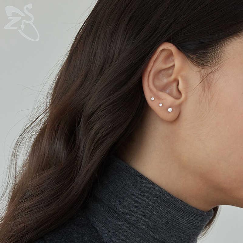 Tiny รอบคริสตัล Studs ต่างหูสกรูบอลสแตนเลสหญิงต่างหูขนาดเล็ก Childern ต่างหูเจาะหู Oorbellen