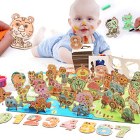 Cartoon Jigsaw Fun Wooden Toy Boy Girl Puzzle Three dimensional Jigsaw Puzzle Toy Educational Toys Toys For Children