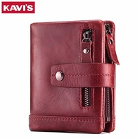 KAVIS 100 Genuine Leather Women Wallet Female Coin Purse And Small Walet Portomonee Lady Mini Zipper