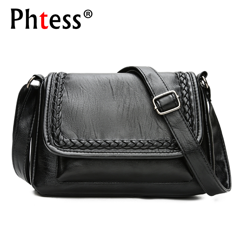 2019 New Black Vintage Shoulder Bags For Women Leather Messenger Bags Crossbody Sac a Main Female Handbags Ladies Flap Bag Black2019 New Black Vintage Shoulder Bags For Women Leather Messenger Bags Crossbody Sac a Main Female Handbags Ladies Flap Bag Black