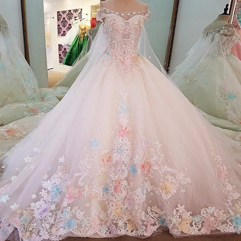 Backlake Luxury bridal gown off the shoulder beading 3D flowers ball gown lace wedding dress font