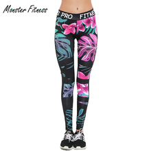 Monster Fitness Women Yoga Pants Running Sport Elastic Tights High Waist Leggings Training Gym Sports Jogging Trousers
