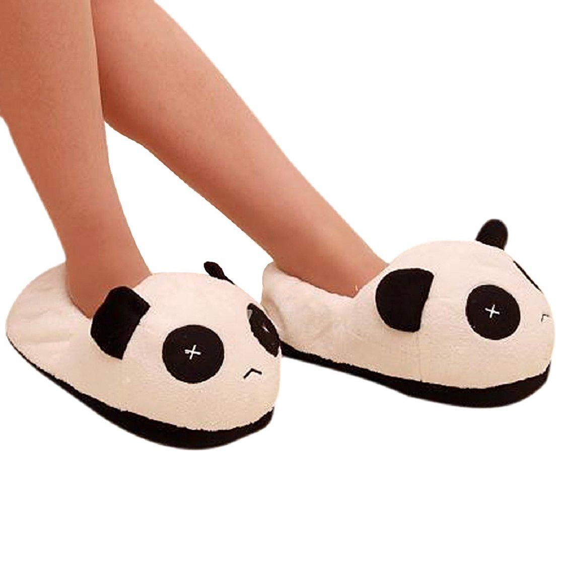 DCOS Black and white panda eyes crying face cotton slippers Men's Panda Plush Winter Non-slip Warm House Indoor Slippers