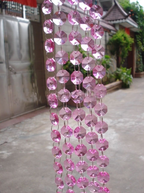 14mm Pink octagon beads chain 5M/lot ,Good Artificial Crystal Glass <font><b>Curtain</b></font> Strands,Home/Window/Door <font><b>CURTAIN</b></font> Wedding decoration,