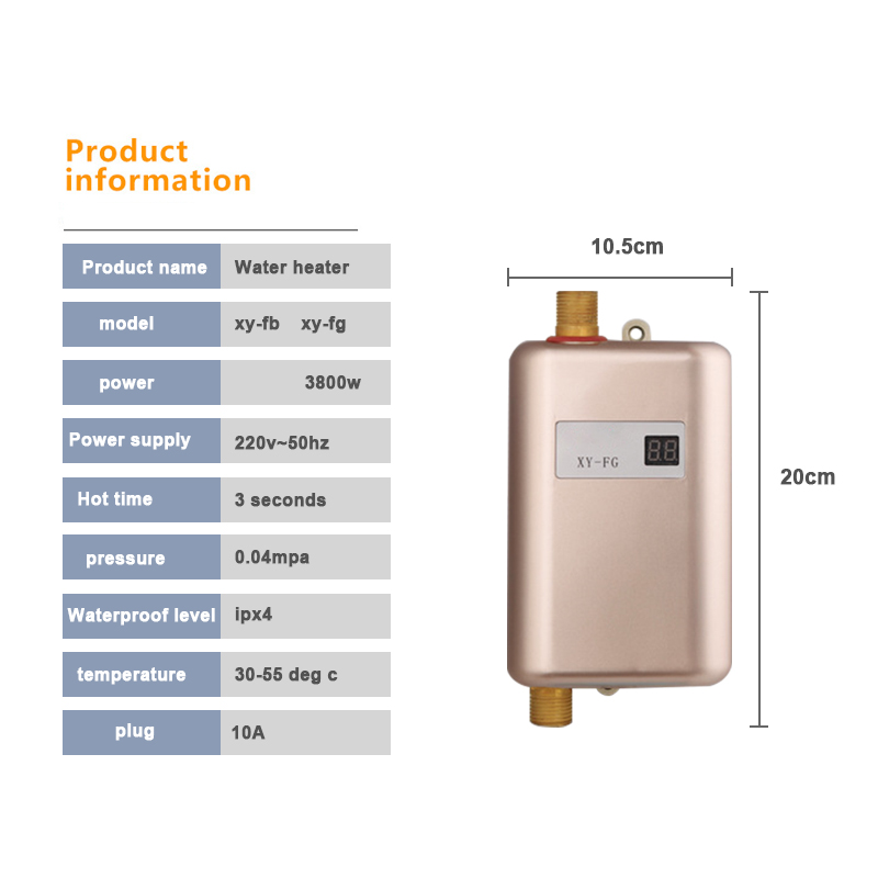 Купить с кэшбэком Instant Electric Water Heater Hot Water kitchen Tankless Instantaneous Water Heating Household LED Temperature Display 110V/220V