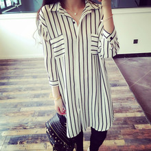 Liva Girl Chiffon Shirts Women's Spring 2018 Office Lady Elegant Loose Tops Plus Size Black White Striped Blouses Female