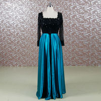 RSE647 Modest Fashion New Turquoise Mother Of The Bride Dress With Sleeves Square Neckline Black Lace
