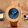 100% Natural Wood Handmade Wrist Watch Unique Blue Big Face Design Quartz Watch With Genuine Leather Bracelet For Men Women