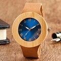 100% de Madeira Natural Artesanal Relógio de Pulso Big Blue Único Rosto Design Relógio de Quartzo Com Pulseira De Couro Genuíno Para Mulheres Dos Homens