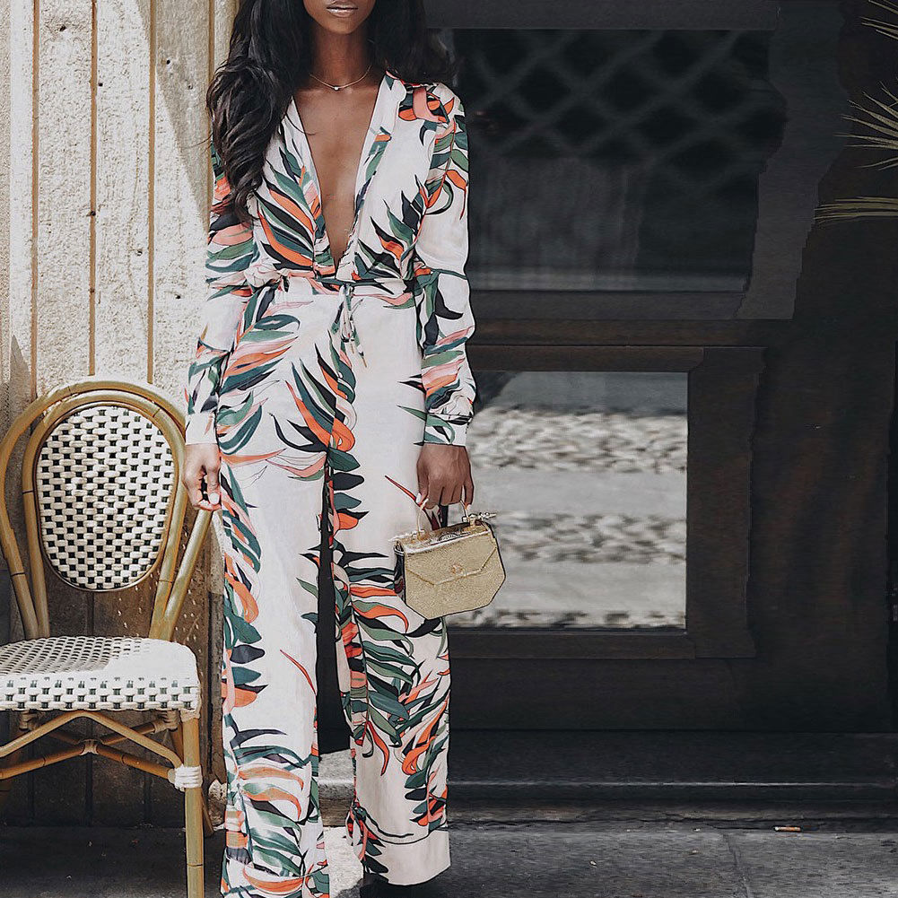 Vogue Ladies Deep V Neck Print Jumpsuits Women New Long Sleeve Straight Wide Leg Jumpsuit Female High Street Clubwear Trousers