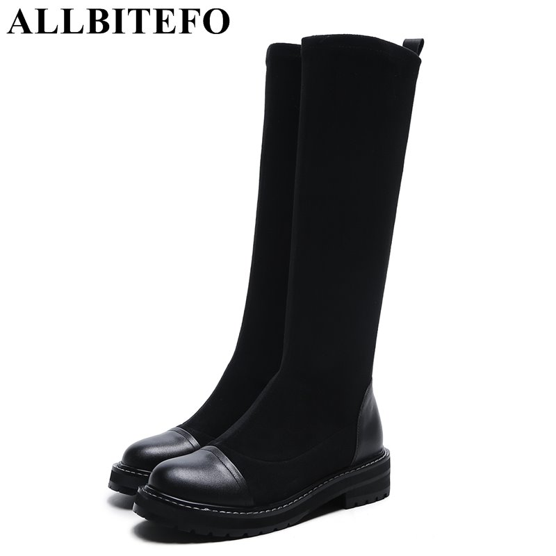 ALLBITEFO hot sale Nubuck leather+Stretch fabrics thick heel women boots winter medium heel women knee high boots girls boots