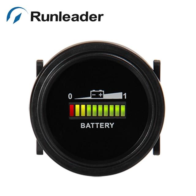 Round LED Battery Indicator 12/24V 36V 48/72V for van moped forklift bulldozer motorboat electric sightseeing car police patrol