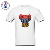 2017 Newest Fashion Funny Baby Elephant With Glasses And Armenian Flag Funny Cotton T Shirt For
