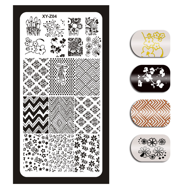 Image 4 - 1Pcs Nail Art Stamping Plates Template Geometric Flowers Butterfly Image Stencils Manicure Polish Transfer Tools For Nail XYZ 01-in Nail Art Templates from Beauty & Health