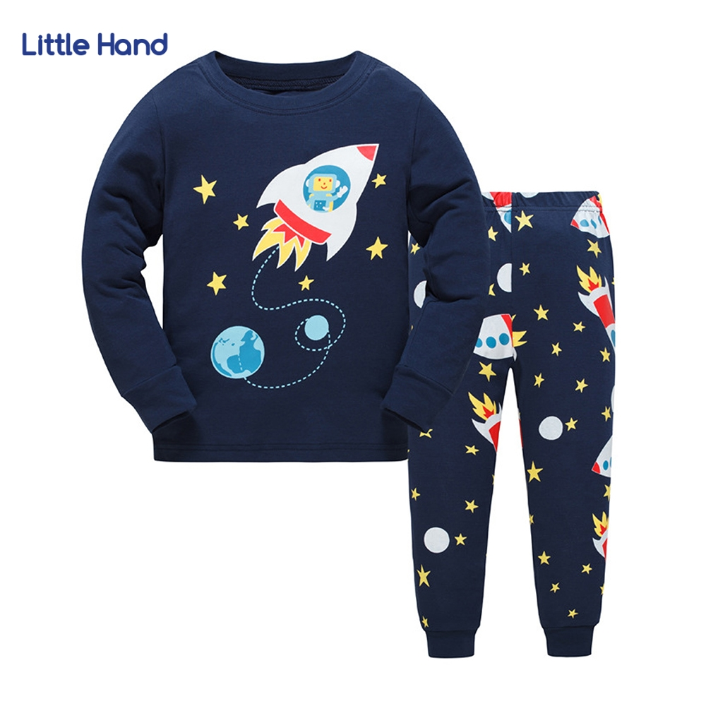 Children Sets Long Sleeves Tops Long Pants 2 Pieces sets Cartoon Rocket Printed Boys Clothes Kids Outfit Baby Boy Tracksuit 3-8T fashion style for girls of chiffon long sleeves tops with stars printed jeans pants in autumn sets children s clothes st316