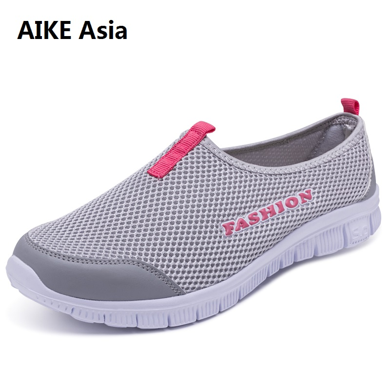 Mesh Shoe 2018 New Women Light Sneakers Summer Fall Breathable Comfortable Mesh Lady Big Size 33-46 Casual Walking Outdoor Shoes