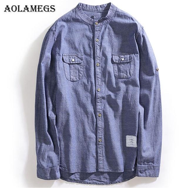 Aolamegs Рубашки для мальчиков Для мужчин брюки-карго однотонный джинсовый мужской Рубашки для мальчиков Стенд воротник хлопок длинный рукав рубашка Мода Повседневное Стиль Весна 2018
