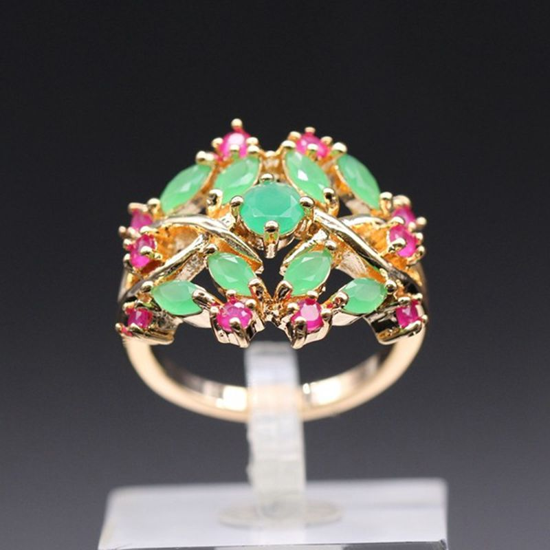 JY Romantic Engagement red zircon ring for women Gold Color Rings ladies exquisite party Grils Rings for women Jewelry Gift