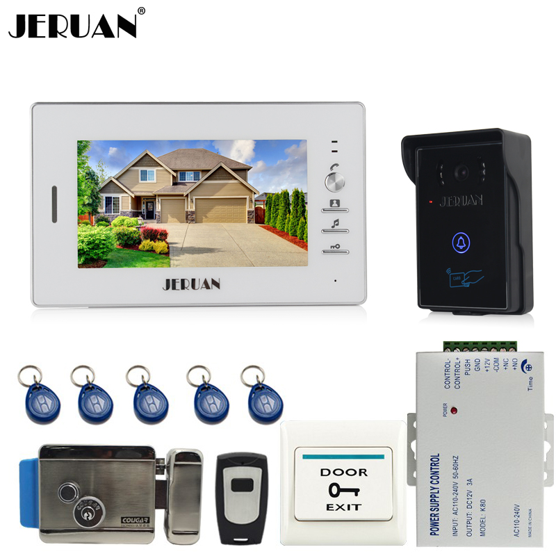 JERUAN 7`` LCD Video Intercom Video Door Phone System 1 white monitor + 700TVL RFID Access Waterproof Camera +Electronic lock jeruan home 7 video door phone intercom system kit 1 white monitor metal 700tvl ir pinhole camera rfid access control in stock
