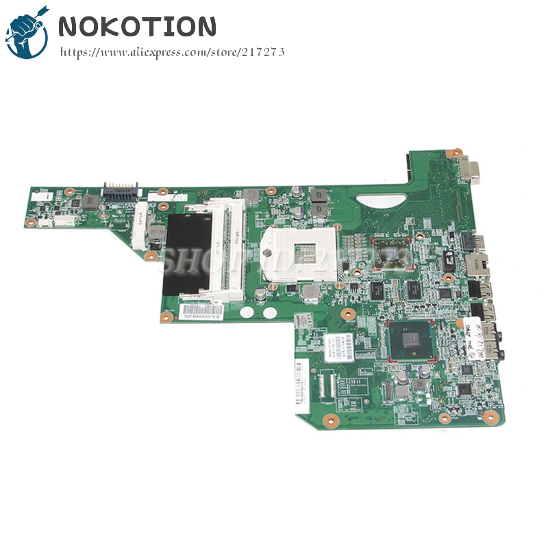 NOKOTION 615381-001 615382-001 Laptop Motherboard For HP G62 G62-B41E0 MAIN BOARD HM55 DDR3 with 1GB Video card p kuone men s clutch wallet luxury shining oil wax cowhide men clutch bag man long genuine leather wallets male coin purse bags