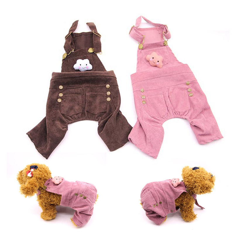 Overalls Corduroy Jumpsuit Dogs Clothes for Pets Puppy Small Dog Cats Costume Hot Sale