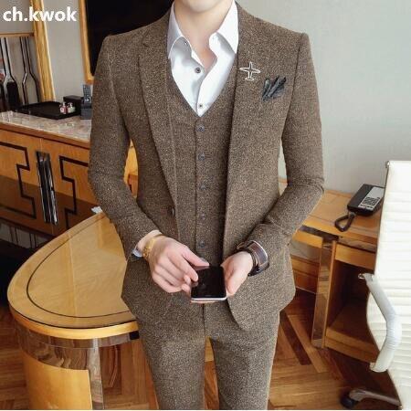 Ch Kwok 3 Stuck Formale Tweed Anzug Mit Hose Vintage Herren Anzug