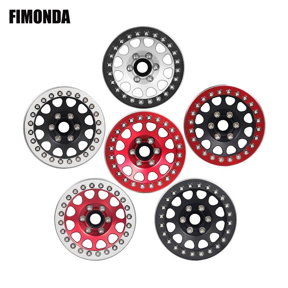 INJORA 4PCS 1.9 Inch Metal Wheel Rim Beadlock Wheel Hub for 1:10 RC Rock Crawler Traxxas TRX4 Axial SCX10 90046 90047 RC4WD D90 12mm Hex