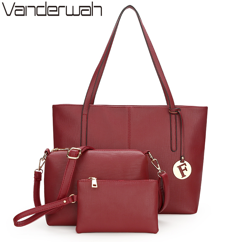 VANDERWAH 3 Set High Quality Leather Women bags Handbags Women Famous Brands Shoulder Bag Purses And Handbag Designer Bag SAC