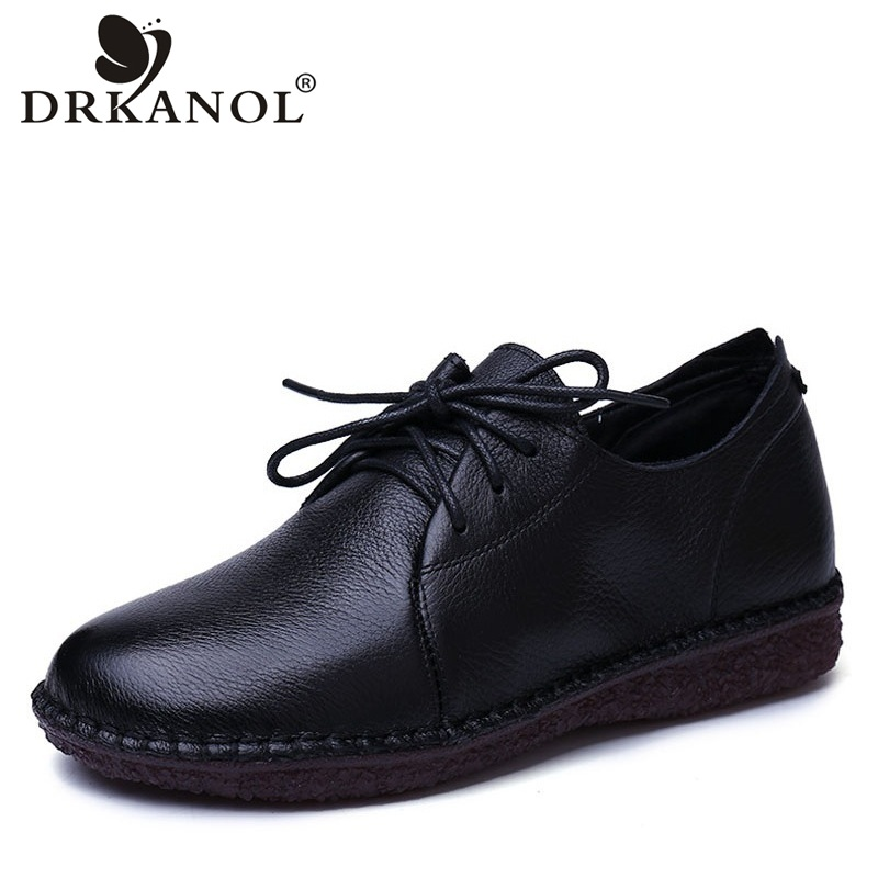 DRKANOL 2018 Spring Autumn 100% Genuine Cow Leather Oxford Shoes For Women Flat Shoes Handmade Vintage Casual Flats Ladies Shoes genuine leather handmade women shoes vintage spring and autumn women shoes flat shoes low top casual shoes free shipping