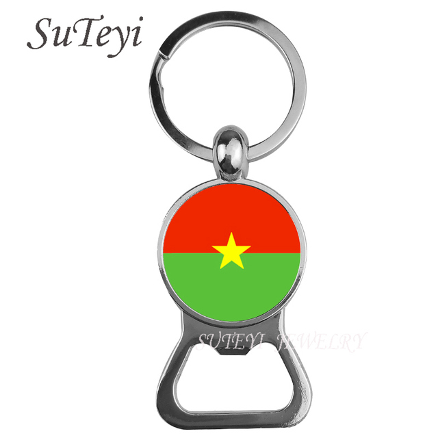 Us 1 64 45 Off Handmade Burkina Faso Burundi Equatorial Guinea National Flag Beer Bottle Opener Key Chain High Quality Pendant Car Key Ring In
