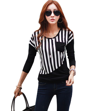 new 2017 winter autumn woman lady casual cotton stripe font b shirt b font tee top
