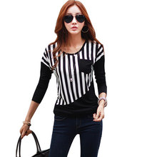 new 2017 winter autumn woman lady casual cotton stripe shirt tee top long sleeve O-Neck Blouse patchwork basic blusas M~XL D0450