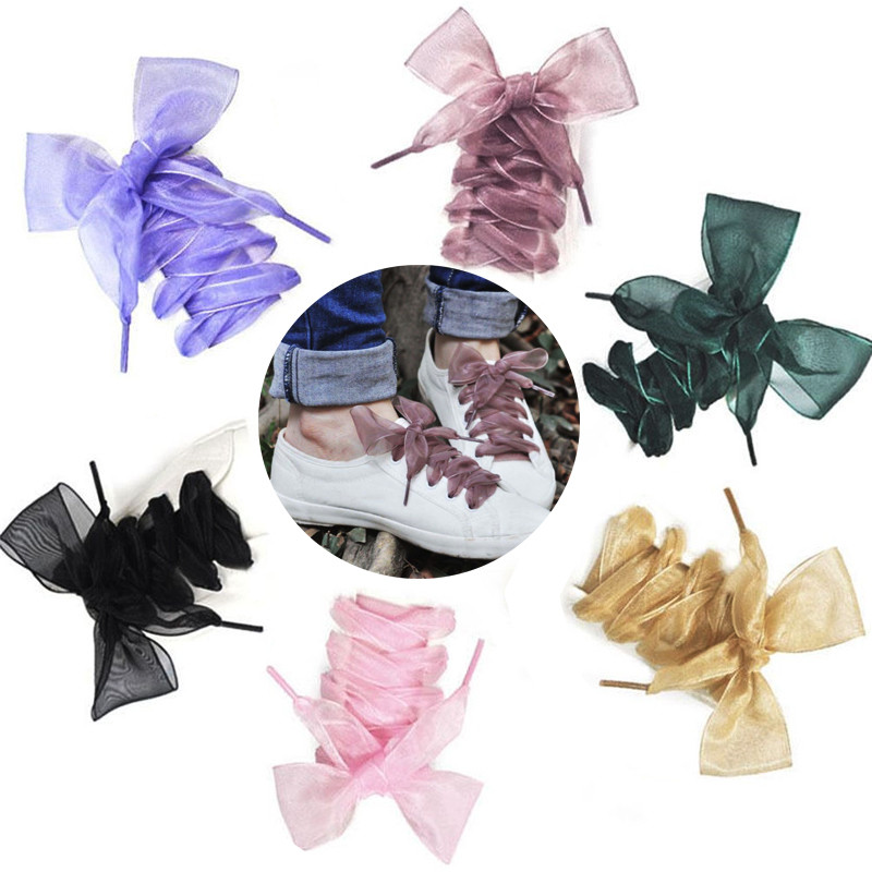 Hot Sale 1 Pair Fashion Shoestrings Women Girl Flat Silk Satin Ribbon Shoe Laces Cute Bow Sport Shoes Lace 110 Cm Free Shipping