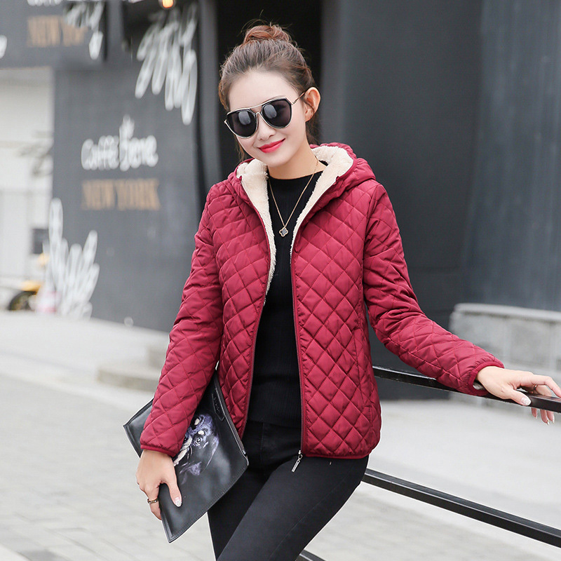 Autumn 2018 Parkas   Basic     Jackets   Women Winter Plus Velvet Lamb Warm Hooded Coats Cotton Female Red Black Blue Outwear Coat