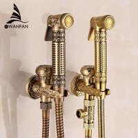 Free Shipping Modern Golden Brass Bathroom Bidet Faucet Exquisite Carved With Hand Sprayer Gun 8891