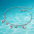 Solid genuine 925 sterling silver bell lady's anklet,let bracelet jewelry for woman