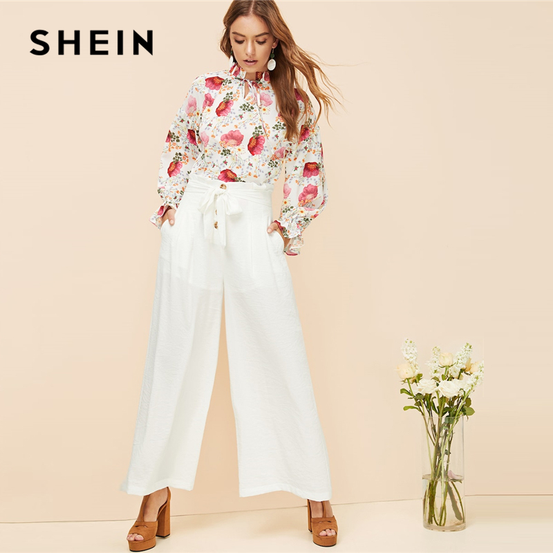 SHEIN White Button Fly Paperbag Waist   Wide     Leg     Pants   Solid Long Trousers Women Office Lady Spring Elegant Casual Workwear   Pants