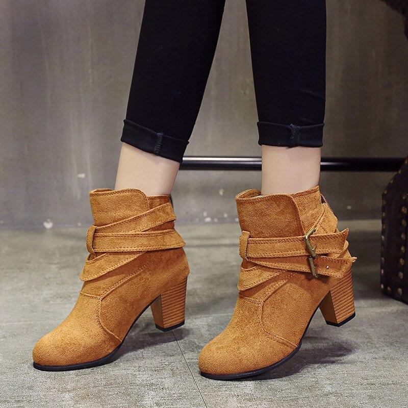 Redondo Dedo Botas gris Moda Tamaño De Martin Pie Invierno Sólido amarillo Tacón Del Decoración Tobillo Las Cuadrado Negro Zapatos Rebaño Más Mujeres Metal Básicas pqv4w