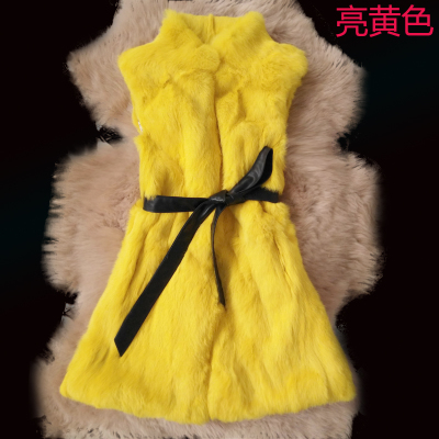 2017 Imitation rabbit fur fur vest Long rabbit fur vest New Korean female collar coat Slim