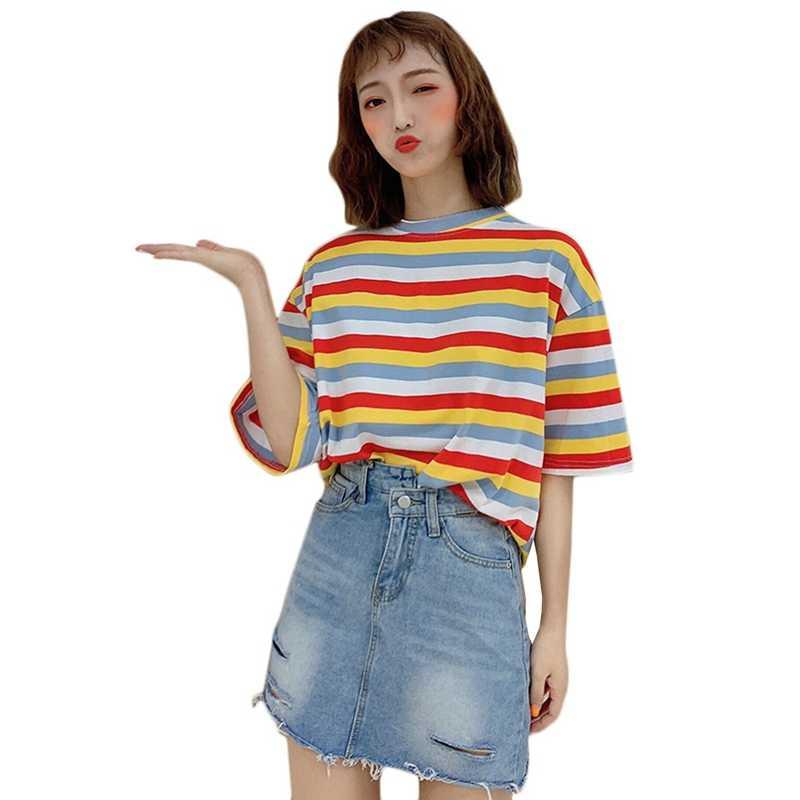 Mùa Hè 2019 Cao Cấp Thời Trang nữ Giản dị Tay Ngắn Sọc Nữ Cổ Tròn Phong Cách Hàn Quốc Rời TEE Steetwear
