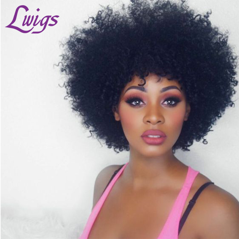 Brazilian Afro Kinky Curly Human Hair Wigs Lace Front Wigs ...