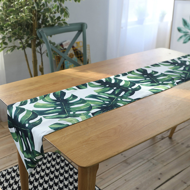 Nordic Fresh Tropical Plant Table Runner Green Leaf Tea Table TV Cabinet  Dust Proof Covers Polyester