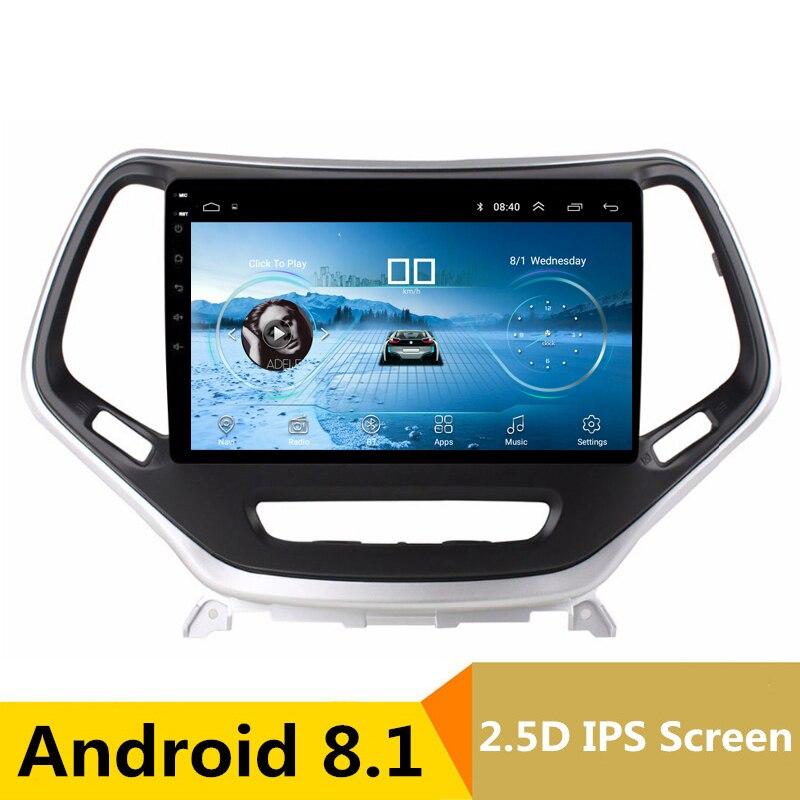 9 2.5D IPS Android 8.1 DVD de Voiture Lecteur Multimédia GPS pour Jeep Cherokee 2014 2015 2016 2017 audio de voiture radio stéréo navigation