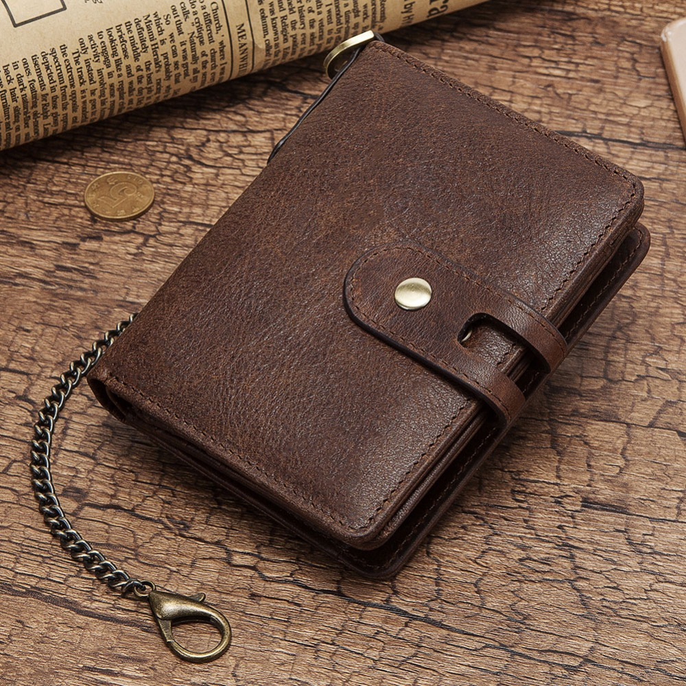 GZCZ Casual  Wallet Men Crazy Horse Wallets Coin Purse Short Male Money Bag Quality Designer RFID Chain Wallet With Free Engrave