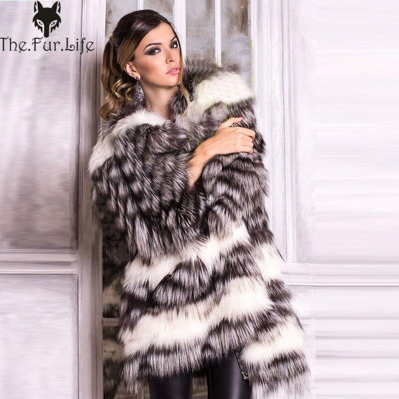 2018 новая стильная натуральная черно бурая лиса шуба для женщин теплая зимняя шуба и куртки из лисьего меха тонкие полоски стиль под заказ пл