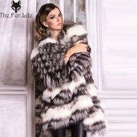 2018 новая стильная натуральная черно-бурая лиса шуба для женщин теплая зимняя шуба и куртки из лисьего меха тонкие полоски стиль под заказ пл...