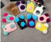 DIY Cute PANDA Real Rex Rabbit Fur Phone Case For Samsung Galaxy J5prime J7Prime A8 A9