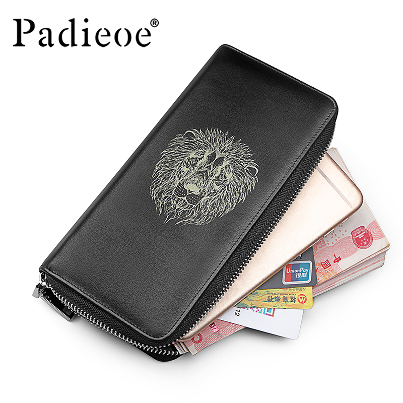купить Padieoe Men Wallets Genuine Leather Zipper Long Wallet Purse Organizer Lion Pattern Clutch Bag по цене 5412.6 рублей